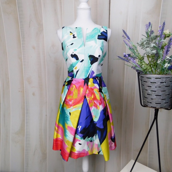 Milly Dresses & Skirts - Milly Abstract Paint Backless Cocktail Dress